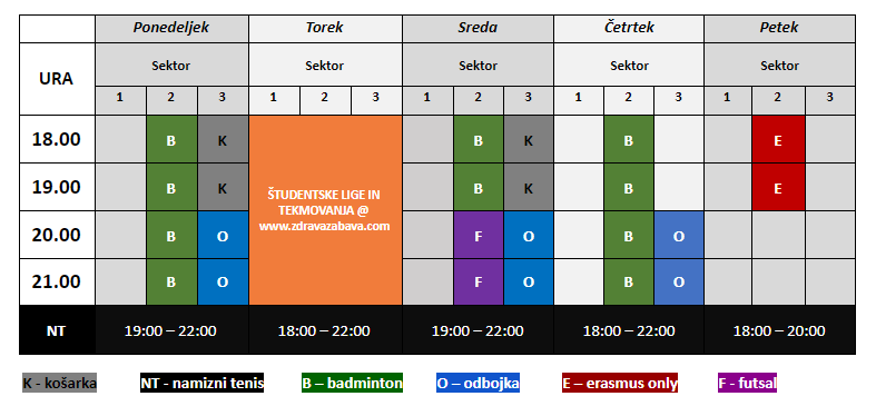 Recreation schedule Zdrava zabava 2020-2021